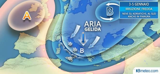 Meteo, dal 2 gennaio in arrivo temperature polari
