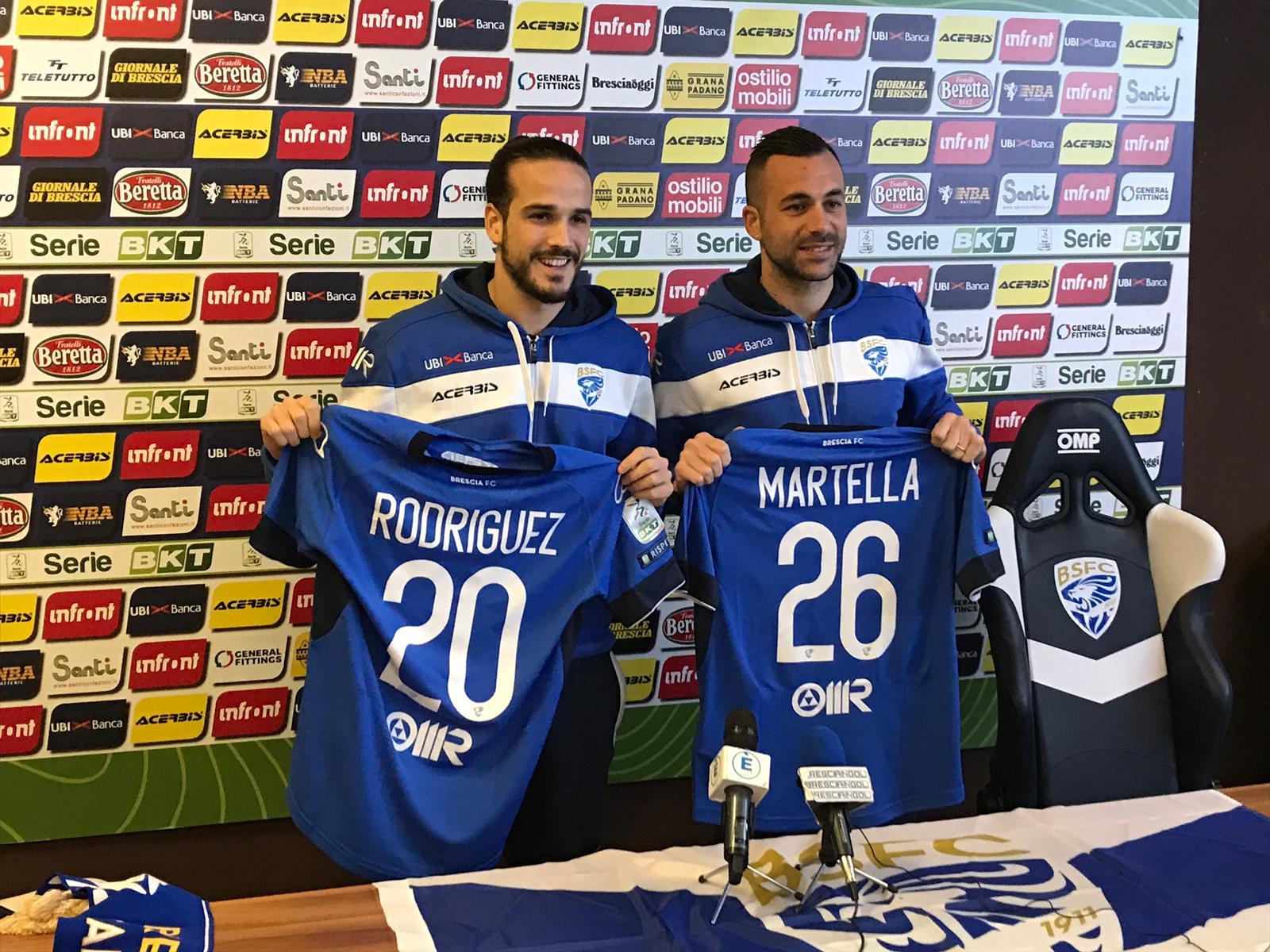 Brescia, presentati Rodriguez e Martella. Oggi primo allenamento con il gruppo