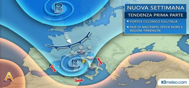 Meteo, arrivano pioggia, neve sulle Alpi e abbassamento delle temperature. Le previsioni di 3B Meteo