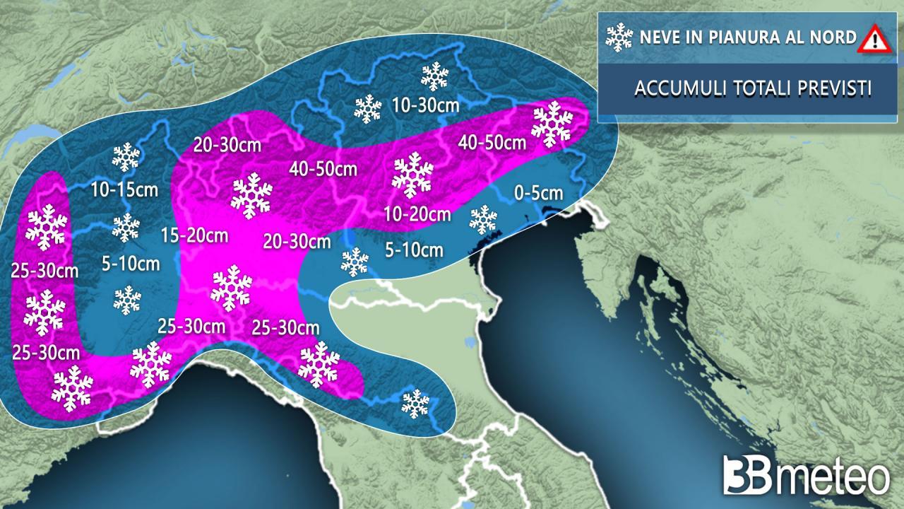 Neve in arrivo anche sulla nostra provincia. Previsti tra  10 e i 20 cm. Le previsioni di 3B Meteo