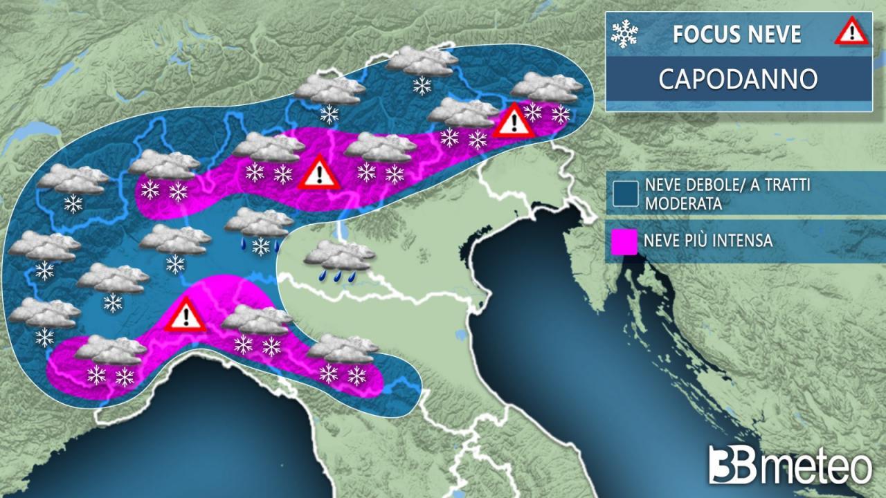 Il 2021 arriva con il maltempo, attesa anche la neve
