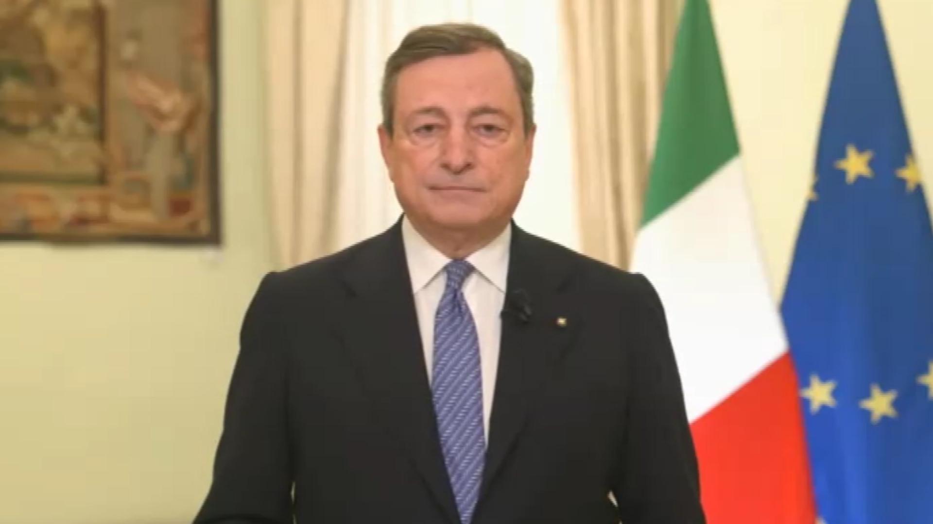 """Draghi: """"La pandemia non è ancora sconfitta, ma si intravede una via d'uscita non lontana"""""""