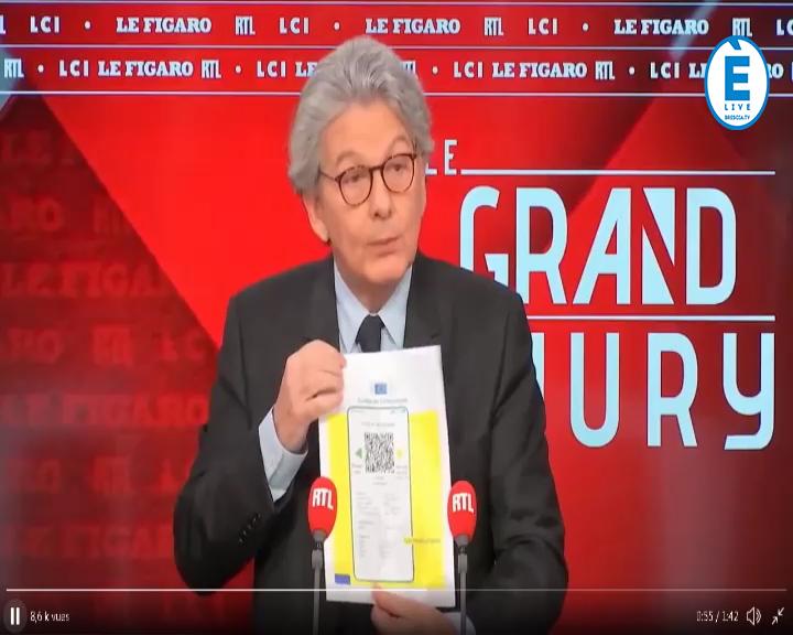 """Ecco il """"passaporto sanitario"""". Sarà pronto tra tre mesi. L'anteprima del Commissario Breton a RTL Francia"""